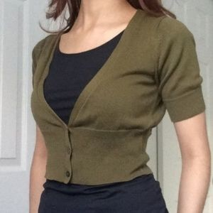 Mossimo Olive Crop Short-Sleeved Cardigan